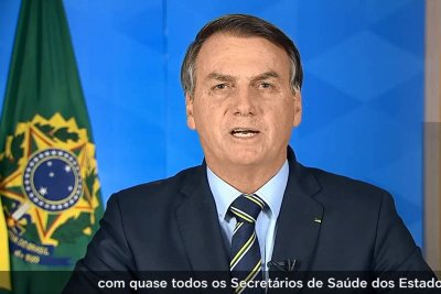 Em pronunciamento nesta terça (24), Bolsonaro defendeu o fim do isolamento e a reabertura de escolas