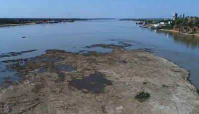 Rio Paraguai possui níveis mais baixos em anos. (Foto: reprodução/Jornal Última Hora)
