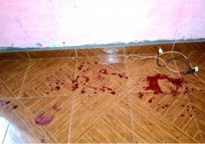 Manchas de sangue ficaram pelo local (Foto: MS Todo Dia)